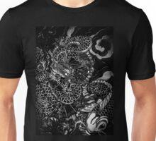 Japanese dragon with koi b&w hd Unisex T-Shirt