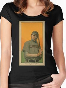Benjamin K Edwards Collection Wildfire Schulte Chicago Cubs baseball card portrait 001 Women's Fitted Scoop T-Shirt
