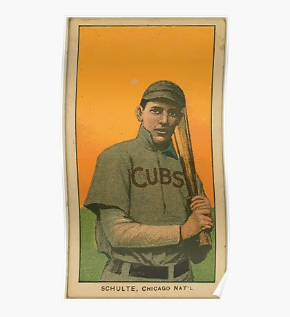 Benjamin K Edwards Collection Wildfire Schulte Chicago Cubs baseball card portrait 001 Poster