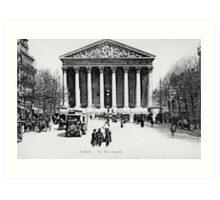 Vintage antique Paris Rue Royale Madeleine church Art Print