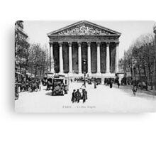 Vintage antique Paris Rue Royale Madeleine church Canvas Print