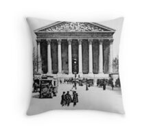 Vintage antique Paris Rue Royale Madeleine church Throw Pillow