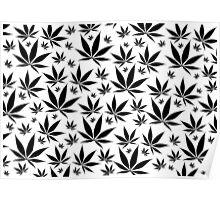 Marijuana Leaves Rain texture Poster