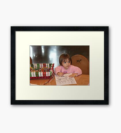 Coloring a picture for Santa..... Framed Print