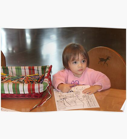 Coloring a picture for Santa..... Poster