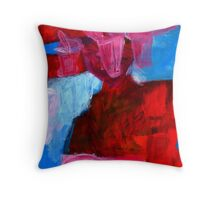 three pot plants in red room Throw Pillow