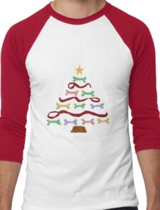 Funny Cool Dog Biscuit Christmas Tree Men's Baseball ¾ T-Shirt
