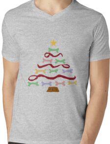 Funny Cool Dog Biscuit Christmas Tree Mens V-Neck T-Shirt