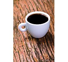 Coffee on Wood Photographic Print
