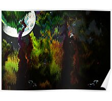 Moonlit spooky night in the forest Poster