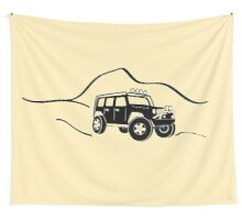Jeep Wrangler JK With Mountain Background Tee / Sticker - Black Wall Tapestry