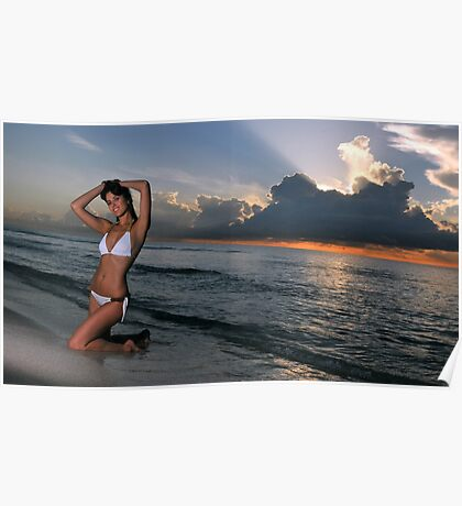 Beautiful brunette posing in a water at sunrise in Miami beach, Florida  Poster
