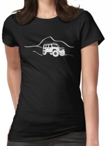 Jeep Wrangler JK With Mountain Background Tee / Sticker - White Womens Fitted T-Shirt