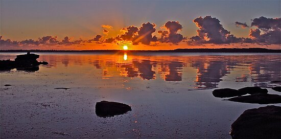 Sunrise on Tuggerah Lake. by Julie  White