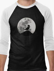 Dinosaur Moon Silhouette - T-Rex Men's Baseball ¾ T-Shirt