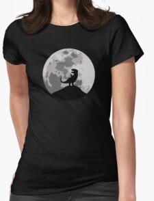 Dinosaur Moon Silhouette - T-Rex Womens Fitted T-Shirt