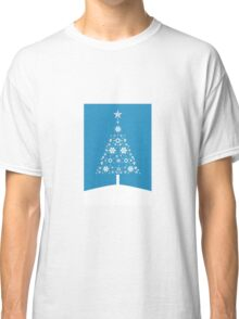 Christmas Tree Made Of Snowflakes On Cerulean Background Classic T-Shirt