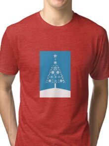 Christmas Tree Made Of Snowflakes On Cerulean Background Tri-blend T-Shirt