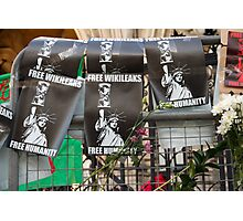 Free Humanity, Free WikiLeaks, outside the Royal Courts Of Justice, Julian Assange hearing 5 December 2011 Photographic Print