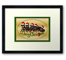 Cute Merry Christmas Rottweiler Puppies Framed Print