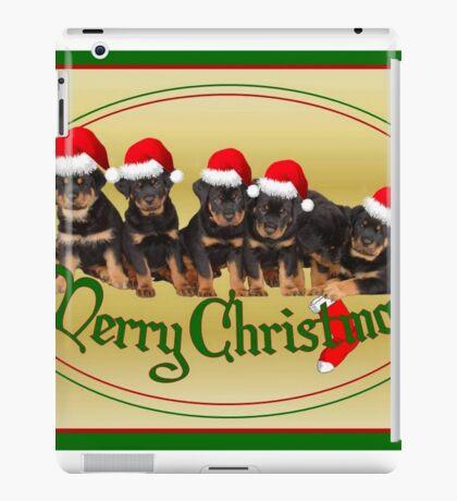 Cute Merry Christmas Rottweiler Puppies iPad Case/Skin