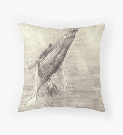 Whale sketch - pencil Throw Pillow