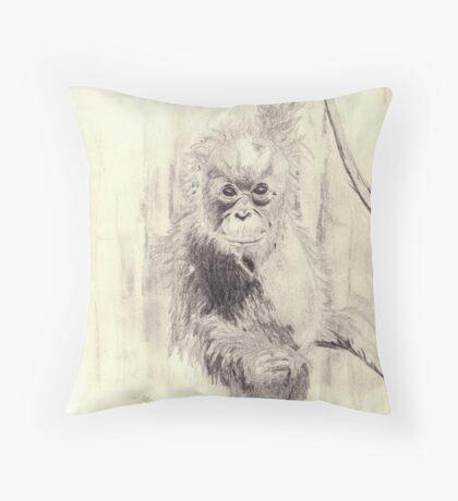 Orangutan sketch - pencil Throw Pillow