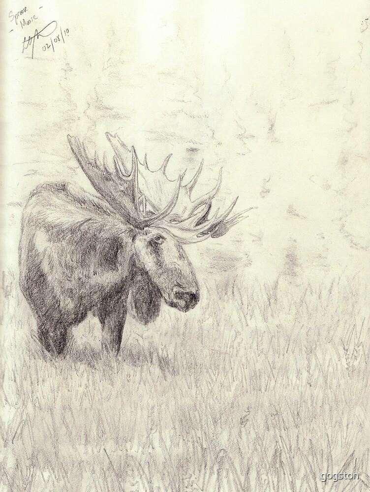 Lonely moose sketch - pencil by gogston