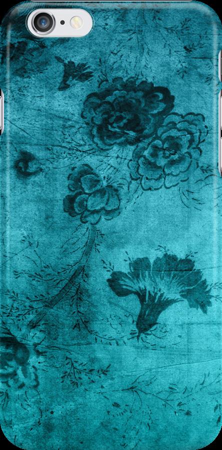 Blue Vintage Flowers Texture by Rewards4life