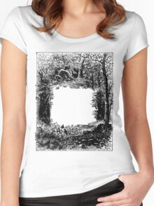 Forest Frame DictionaryArt Trees Ink Artwork  Women's Fitted Scoop T-Shirt