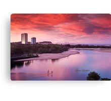 Red sunset, blue planet Canvas Print