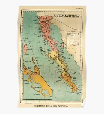 Vintage Map of Baja California (1899) Poster