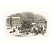 The Holly Cart Victorian Christmas 1848 Art Print