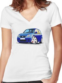 VW Lupo GTi Blue Women's Fitted V-Neck T-Shirt