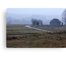 Farmstead in misty day in autumn Canvas Print