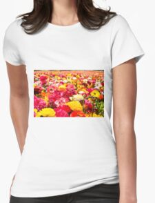 A field of multicolor cultivated Buttercup (Ranunculus) flowers Womens Fitted T-Shirt