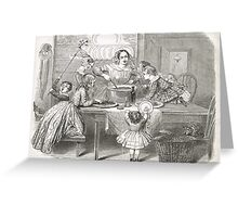 Victorian Christmas Pudding Making 1848 Greeting Card