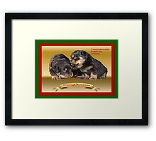 I Know Where She's Hidden The Presents Rottweiler Puppy Christmas Wishes Framed Print