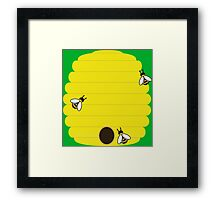 Beehive with 3 busy bees Framed Print