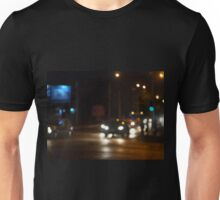 Night road in the city with abstract motion blur of lights Unisex T-Shirt