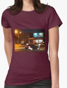 Abstract blurred image of a car driving in the city Womens Fitted T-Shirt