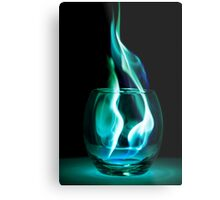 Iced Flames in a Glass Metal Print