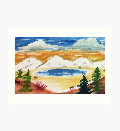 In the Valley below snowy mountains, watercolor Art Print