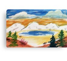 In the Valley below snowy mountains, watercolor Canvas Print