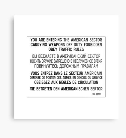 You Are Entering The American Sector, Sign, Germany Metal Print