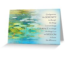Serenity Prayer Koi Pond Blue Green Greeting Card