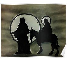 Christmas scene of Joseph and Mary, watercolor Poster