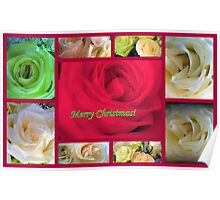 Merry Christmas Rose Collage Poster