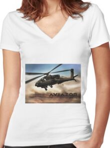 AH-64 Apache Helicopter Women's Fitted V-Neck T-Shirt