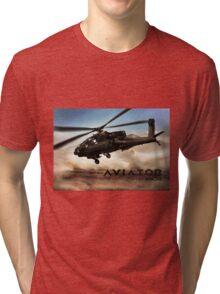 AH-64 Apache Helicopter Tri-blend T-Shirt